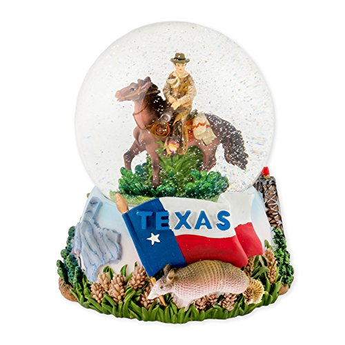 Texas Cowboy 100mm Resin Glitter Water Globe Plays Tune Deep in the Heart of ()