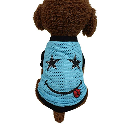 Conwinart Pet Clothes,Pet Dogs Breathable Mesh Tank Top Dog Sleeveless Summer T Shirt Vest Halloween Party Funny Smiley Face Apparel for Small to Medium Dogs Cats (XS, SB) -