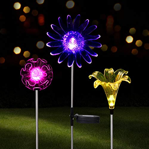 VIBELITE Outdoor Solar Powered Garden Stake LED Lights with 7 Multi-Color Changing for Path Walkway Patio Lawn and Outdoor Decoration (3 Pack)