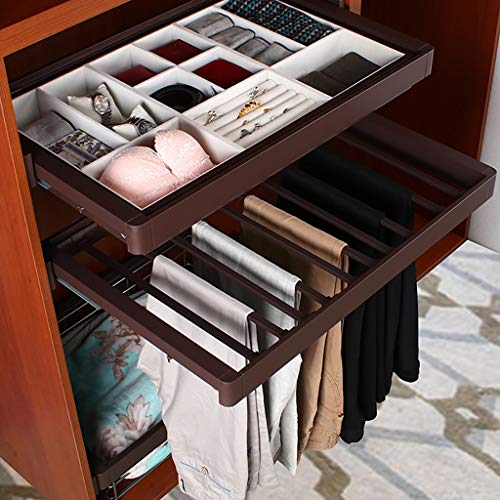 Pull Out Trousers Rack Extendable Pants Hanger Rail with Damper Tie Organizer for Wardrobe (764-815mm) by FKhanger (Image #1)