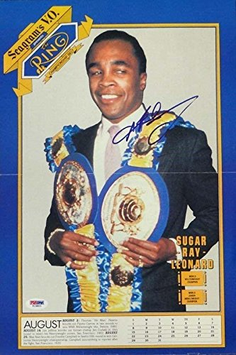 Poster Ray Mill (Sugar Ray Leonard Autographed Photograph - Magazine Poster #T19803 - PSA/DNA Certified - Autographed Boxing)