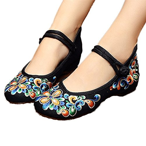 L-RUN Womens Embroidery Mary Jane Shoes Casual Ladies Old Peking Office Work Strap Flats Shoes Black Orange eYWPBGy
