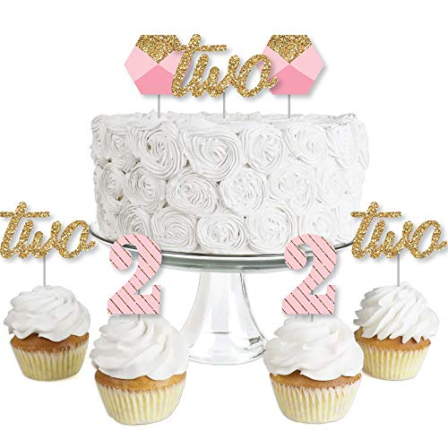 2nd Birthday Girl - Two Much Fun - Dessert Cupcake Toppers - Second Birthday Party Clear Treat Picks - Set of 24 ()