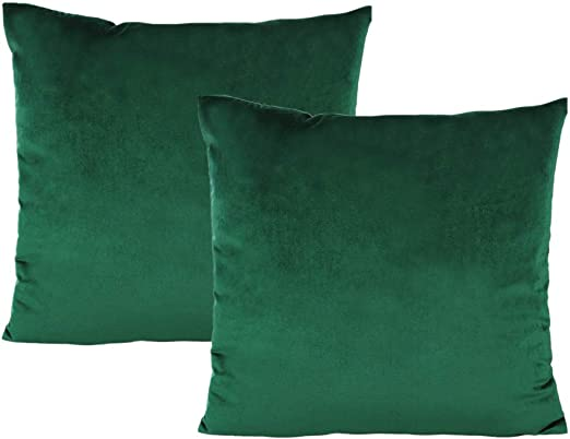 Emerald Green Throw Pillow Covers Velvet Decorative Christmas Dark Green  Cushion Cases Cozy Soft Solid Square Home Decor for Car Couch Sofa Bedroom