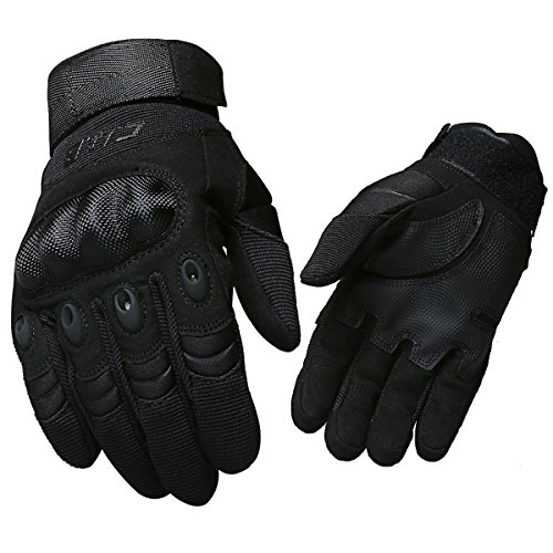 CQB Outdoor Tactical Gloves Riding Cycling Carbon Fiber Hard Knuckle Full Finger Armor Men's Gloves (Black Fullfinger, L)