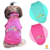 Cutie Pet Dog Clothes Dog Shirts I'm Pawsome 100% Cotton Comfortable and Breathable for Small Medium Large Pets (L, Pink)
