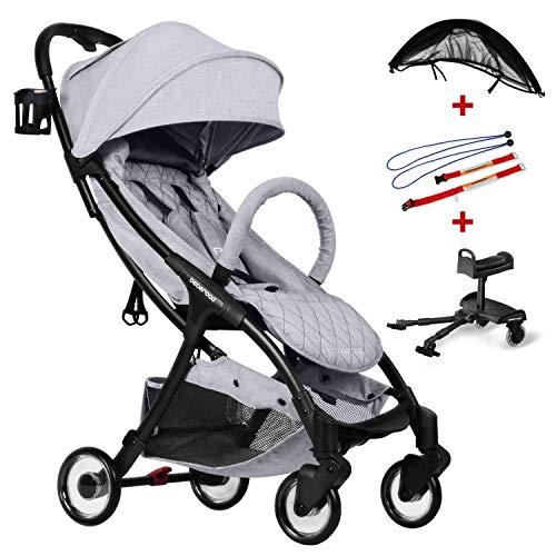 Compact Stroller 2020 Ultra Lightweight Baby Stroller + Baby Stroller Glider Board + Universal Mosquito Net + Universal Car Seat Adapter Light Grey & Black