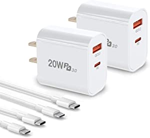 iPhone Charger Fast Charging,2 Pack 20W Dual-Port Wall Charger Plug with 6FT Cables, PD/QC3.0 USB C Power Adapter for iPhone 12,12 Mini,12 Pro Max,iPhone 11 Pro Max, iPad Pro, AirPods Pro and More