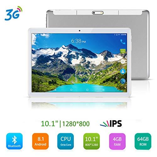 Android 8.1 Tablet 10.1 inch,Octa Core Processor,4GB RAM+64GB Storage,2MP+8MP Camera,3G Dual SIM Phablet,WiFi,GPS,OTG(Silver)
