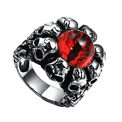 Oakky Men's Stainless Steel Silver Black Punk Ghost Skull Head Red Evil Eye Peculiar Ring with Stone Size 12