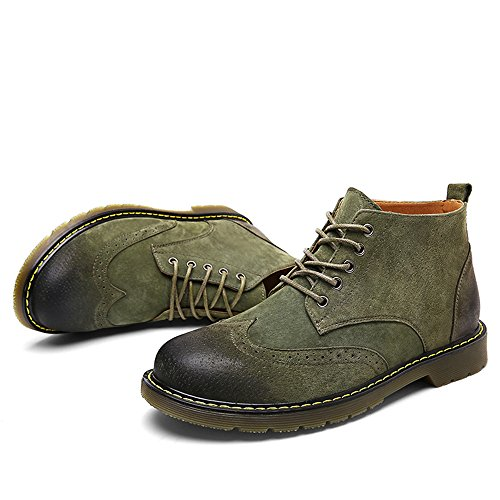 Leather up Ankle Lace Winter Boot Shoes Chukka Fashion Green SUNROLAN Suede Men's Boots Casual nfW01EEqT