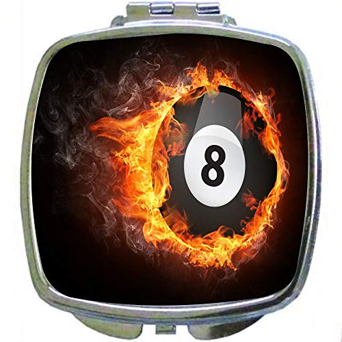 Square Compact Mirror Personal Mirror - Super 8 Black Ball on Fire Billiards ()