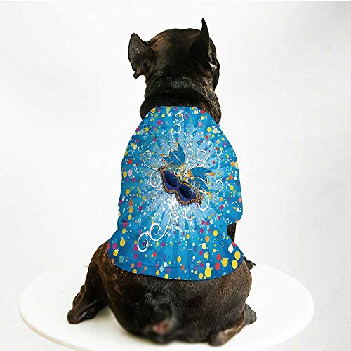 YOLIYANA Mardi Gras Soft Pet Suit,Blue Backdrop with Colorful Dots Spots and Carnival Mask with Stylized Swirls for Cats and Dogs,S