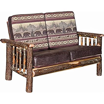 Sensational Amazon Com Rustic Hickory Log Faux Leather Love Seat Gmtry Best Dining Table And Chair Ideas Images Gmtryco