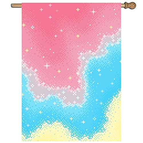 Linhong Colorblock Galaxy Garden Printed Flag One Sided Home Flag Weather Resistant Durable-27 x 37 Inches ()
