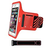 iPhone 5/5S/SE Running Armband Case Sweatproof,EOTW Cell Phone Sports Armband Pouch With Key Holder For Walking,Jogging,Gym,Cycling,Exercising (Red,4 inch)