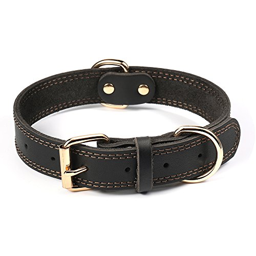 Collar Bowl - DAIHAQIKO Leather Dog Collar Genuine Leather Alloy Hardware Double D-Ring Dual Stitching 3 Best for Medium Large and Extra Large Dogs (S, Black)