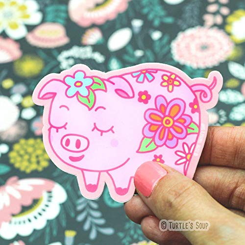 Little Floral Pig, Vinyl Stickers, Pink Pig Sticker, Cute Decal, Gift For Children - Turtle's - Mosaic Journal