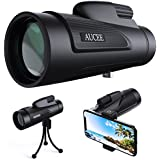 AUCEE 12X50 High Power Prism Monocular Telescope, Waterproof Fogproof Shockproof Scope -BAK4 FMC Prism with Smartphone Adapter and Tripod for Steady Bird Watching Hunting Camping Travelling Scenery