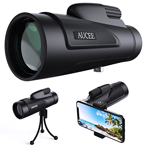 AUCEE 12X50 High Power Prism Monocular Telescope, Waterproof Fogproof Shockproof Scope -BAK4 FMC Prism with Smartphone Adapter and Tripod for Steady Bird Watching Hunting Camping Travelling Scenery by AUCEE