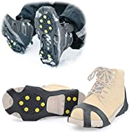 Slowton Ice Cleats, 10 Steel Antislip Ice Snow Gripper Over Shoes Boots Slip-on Stretch Footwear Antiskid Ice