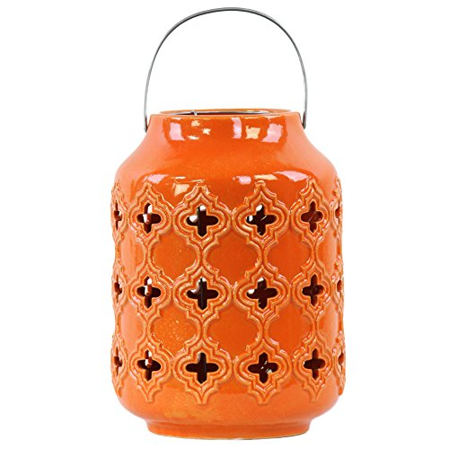 Urban Trends 50046 Ceramic Cylindrical Lantern with Cutout Walls and Metal Handle Gloss Finish Orange (Ceramic Wall Handle)