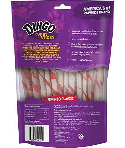 Dingo Twist Sticks Rawhide Chews, Made With Real Chicken, 50-Count (Packaging May Vary)