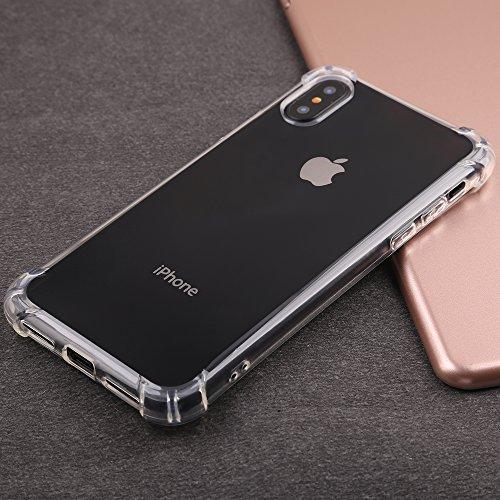iphone x cases clear, iphone x cases girls, iphone x cases cute, iphone crystal clear [Reinforced Corners TPU Bumper Cushion][Support Wireless Charging][Thin Slim Fit][Anti Scratch] Clear