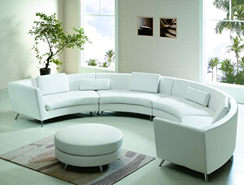 Modern Line Furniture 8004W-G7 Contemporary Leather Curved Open-Chaise Sectional Sofa with Ottoman and Multi-Function Coffee Table Restaurant/Bar/Nightclub/Hospitality Furniture, White (Pack of 5) (Sectional Cocktail)