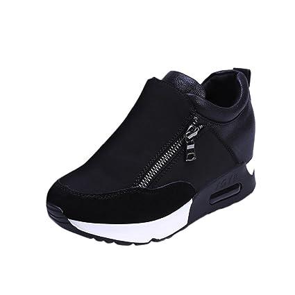 SUKEQ Women Stylish Thick-Bottomed Wedge Platform Running Hiking Climbing Sneakers  Slip On Athletic Travel 5f19a58c263b