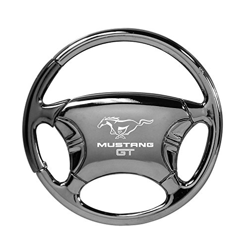 Au-Tomotive Gold, INC. Ford Mustang GT Black Chrome Steering Wheel Key Chain