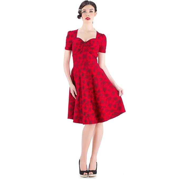 Voodoo Vixen 50s Retro Vestido de Flores – Glamour Vintage Rosas Flores Dress Rojo Rojo Small