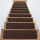 Stair Treads Non-Slip Carpet Indoor Set of 14 Brown Carpet Stair Tread Treads Stair Rugs Mats Rubber Backing