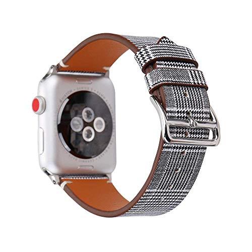 HotGlows Fashion Black Houndstooth Pattern Replacement Watch Band Strap Wristband with Silver Metal Adapter Compatible with Apple Watch Series 3 2 1 All Models