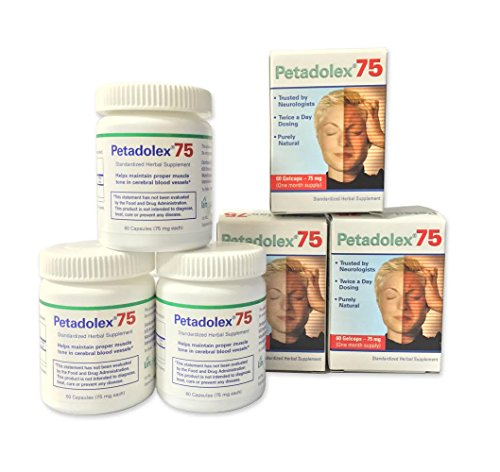 Petadolex 75 mg patented PA-free butterbur root extract - 3 Bottles