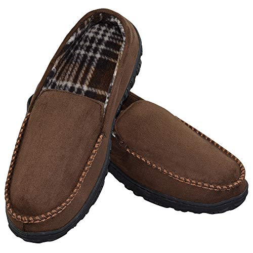 VLLY Men's Pile Lined Microsuede Indoor Outdoor Slip On Moccasin Slippers US 13 Brown (FBA) ()