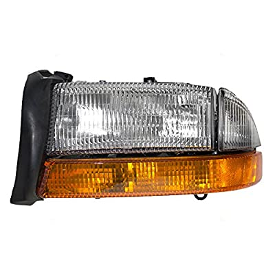Drivers Composite Headlight Headlamp with Park Signal Lamp Replacement for Dodge Pickup Truck SUV 55055111AI