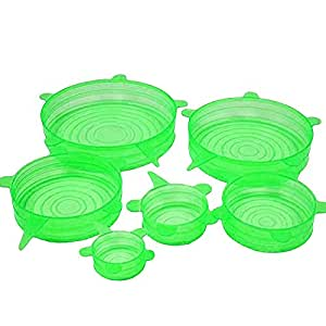 Silicone Stretch Lids, 6-Pack of Various Sizes. Color Green
