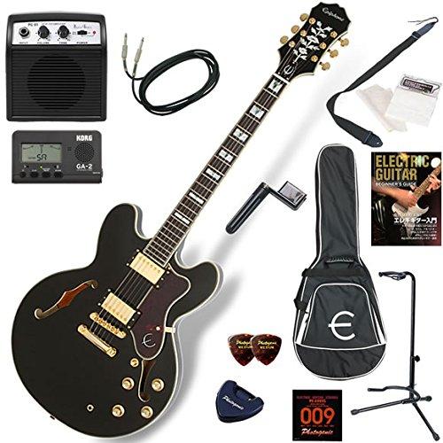EPIPHONE エレキギター 初心者 入門 高級感溢れるルックスのセミアコ「シェラトン」 ミニアンプが入ったお手軽13点セット Sheraton-II PRO/EB(エボニー) B016W65RRQ EB(エボニー)