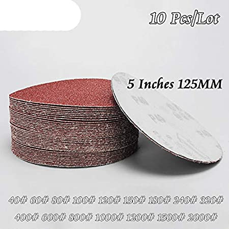 10Pcs//Lot Dry Grinding 5 Inches 125MM Paper Flocking Sandpaper Pad Sanding Disc Woodworking Electric Grinder Accessories 180