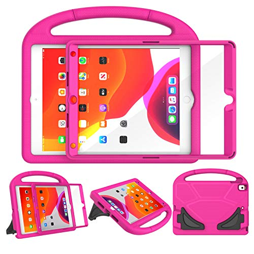 LEDNICEKER Case for iPad 10.2 inch 2019 Case for Kids, Built-in Screen Protector Lightweight Shockproof Handle Friendly Stand Kids Case for New iPad 7th Generation Latest Model - Rose (Best Ipad Case Manufacturers)