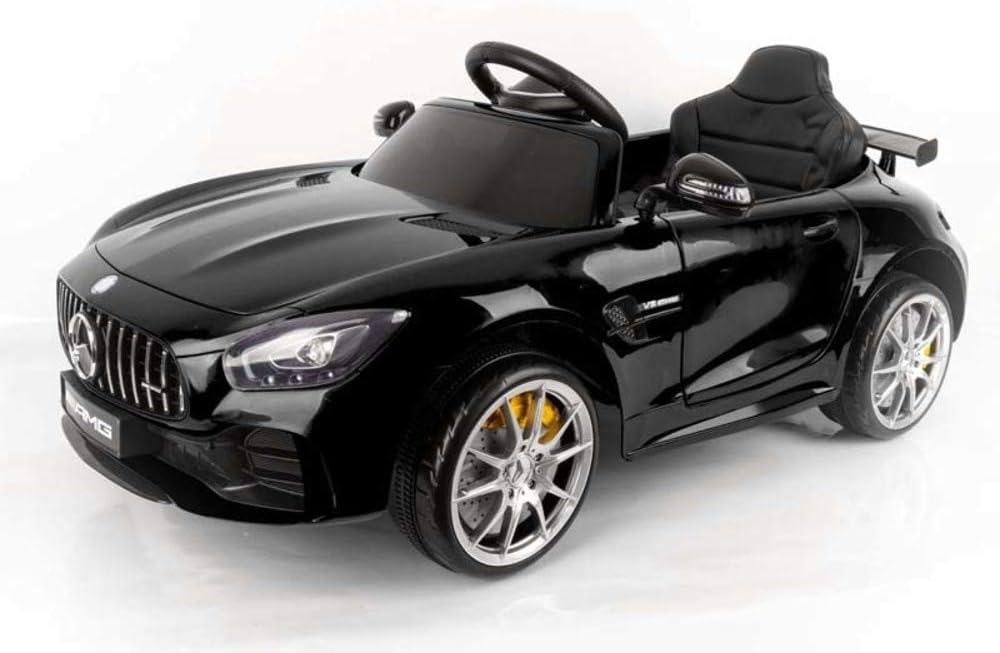 Devessport - Coche eléctrico para niños con Mando de Control Remoto - Mercedes GTR - Coche teledirigido con batería - Ideal para niños de 3 a 8 años (máximo 30 Kg) - Medidas: 102x62x53 cm (Negro)