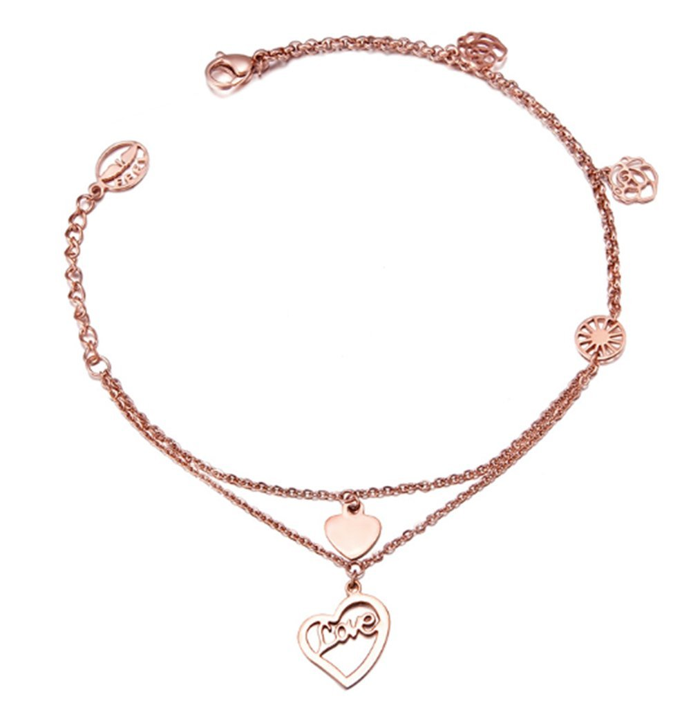 Double Layers Anklets Rose Gold Plated Ankle Jewelry For Women BTG119