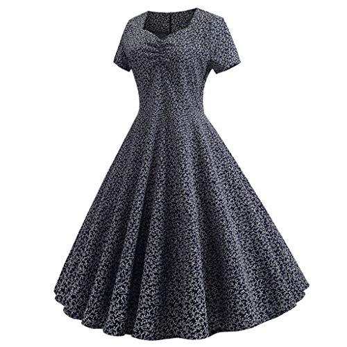 Stampa Manica Corta Retr Dragon868 Vita Alta Floreale Eleganti Dress Vestito Rosa Donna Pieghe OZuPkXwiT
