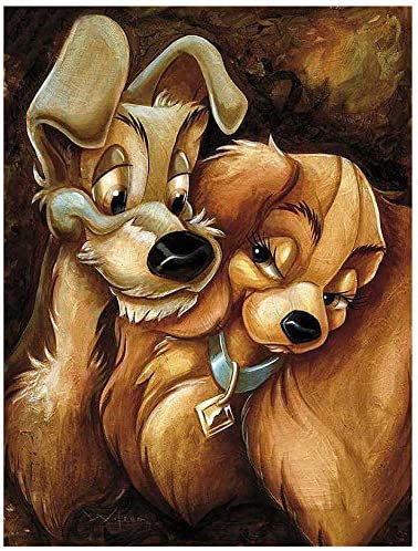 Amazon Com Lady And The Tramp Diamond Painting Kit For Adults 5d Full Drill Diy Arts Crafts Bling Artwork Decor Gift Set With Crystal Rhinestone Gems 11 81x15 75 Inch Arts Crafts Sewing