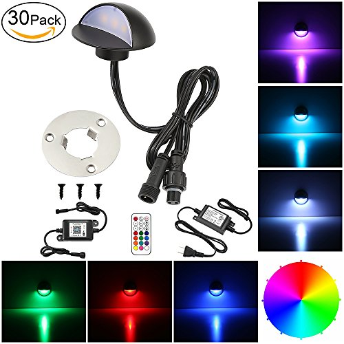 LED Deck Lighting Kits, FVTLED 30pcs WiFi Controller Φ1.97 Low Voltage LED Deck Lighting RGB Recessed Light Work with Alexa Google Home Wireless Smart Phone RGB ()