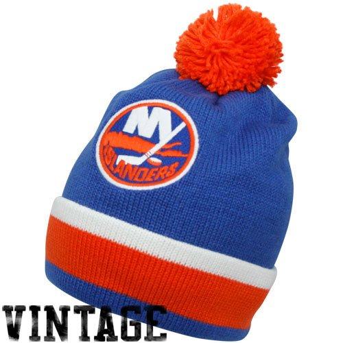 fan products of Mitchell & Ness New York Islanders Royal Blue Vintage Jersey Stripe Cuffed Knit Beanie