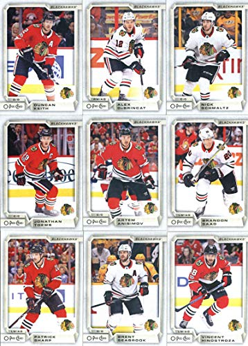 2018-19 O-Pee-Chee Hockey Chicago Blackhawks Team Set of 16 Cards: Patrick Kane(#20), John Hayden(#52), Erik Gustafsson(#89), Anthony Duclair(#113), Anton Forsberg(#147), Corey Crawford(#180), Patrick Sharp(#209), Connor Murphy(#233), Brent Seabrook(#257), Vincent Hinostroza(#286), Jonathan Toews(#305), Artem Anisimov(#351), Brandon Saad(#386), Duncan Keith(#407), Alex DeBrincat(#450), Nick Schmaltz(#493)
