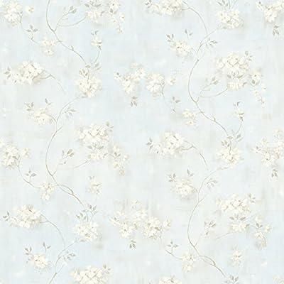 Chesapeake MEA44107 Rosemoor Blue Country Floral Wallpaper