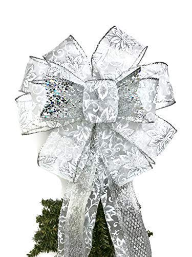 Wreath Bow, Silver wedding bow, Large Gift Bow, Wreath Bows, Tree Topper, Christmas Bows, Swag Bow, Large Door Bow